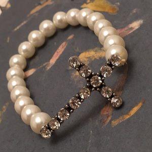 Jewelry - Sparkle Cross & Pearl Bracelet